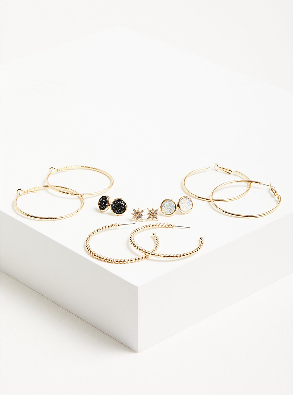 Plus Size Hoops with Black Faux Moonstone Studs Set of 6 - Gold Tone, , hi-res