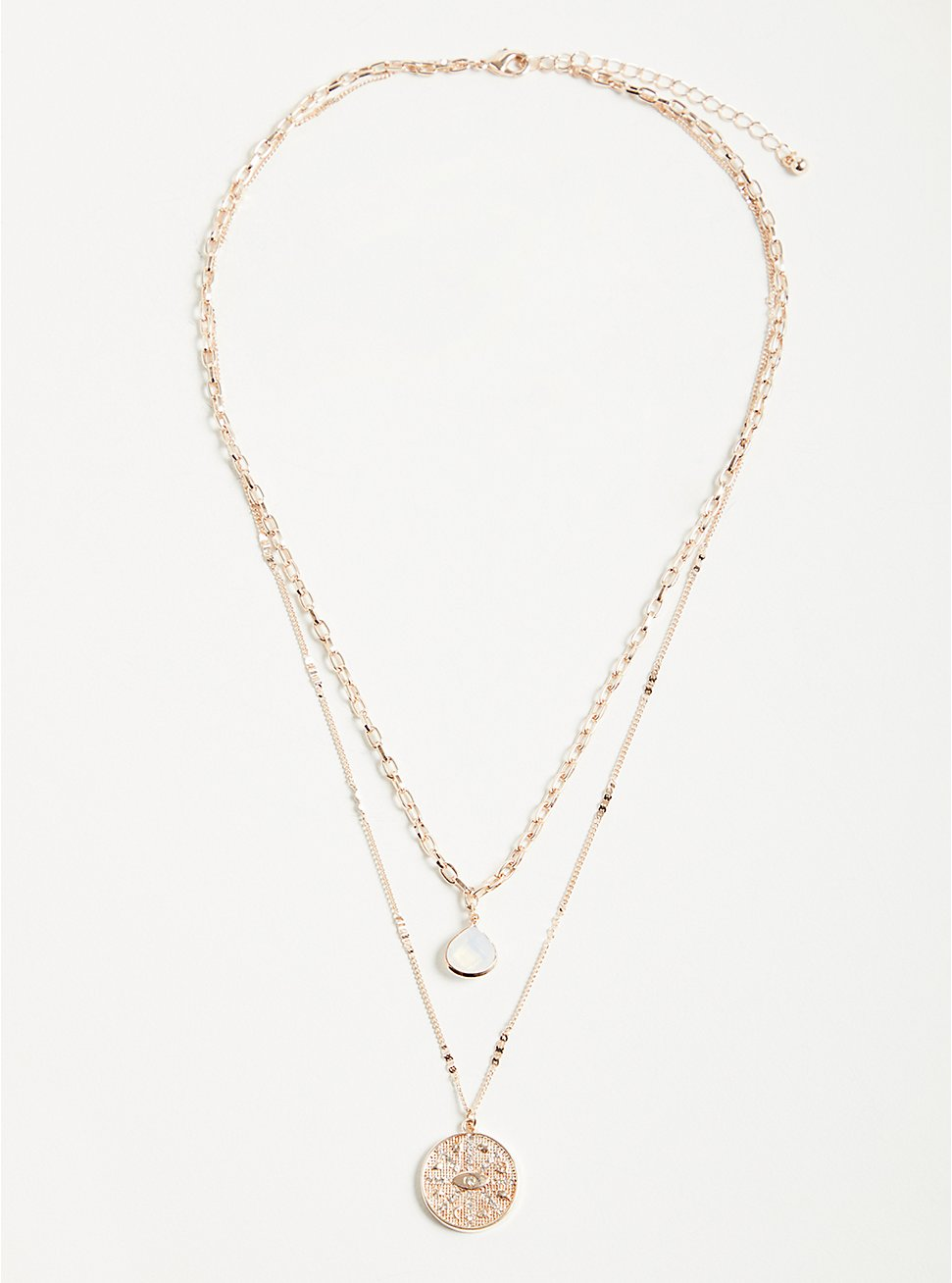 Plus Size Opal & Disk Layered Necklace - Rose Gold Tone, , hi-res