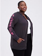 Zip-Up Tunic Hoodie - Lightweight French Terry Vintage Skeleton Rose Black , VINTAGE BLACK, hi-res