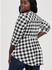 Babydoll Top - Stretch Challis Gingham Black & White Tunic Blouse, PLAID - WHITE, alternate
