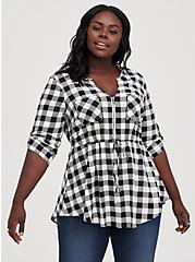 Babydoll Top - Stretch Challis Gingham Black & White Tunic Blouse, PLAID - WHITE, hi-res