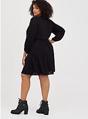 Skater Dress - Embroidered Gauze Black, DEEP BLACK, alternate