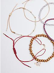 Elephant Bracelet Set of 6 - Gold Tone & Burgundy, MULTI, alternate
