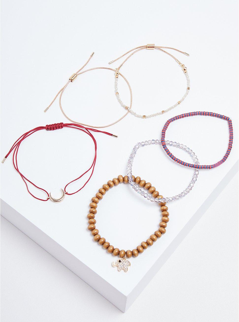 Elephant Bracelet Set of 6 - Gold Tone & Burgundy, MULTI, hi-res