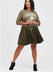 Circle Skirt - Ponte Coated Olive, DEEP DEPTHS, alternate