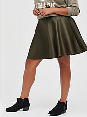 Circle Skirt - Ponte Coated Olive, DEEP DEPTHS, hi-res