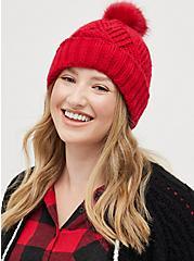 Plus Size Pom Beanie - Basket Weave Red, , alternate