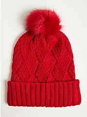 Plus Size Pom Beanie - Basket Weave Red, , hi-res