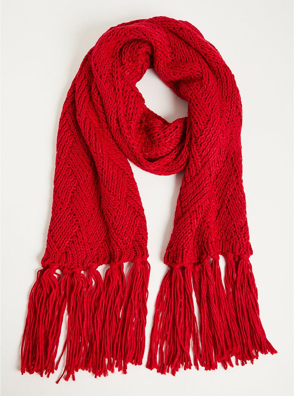 Fringe Scarf - Basket Weave Red, , hi-res