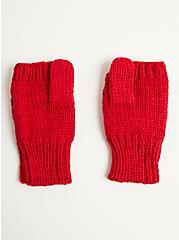 Fingerless Glove - Basket Weave Red, , alternate
