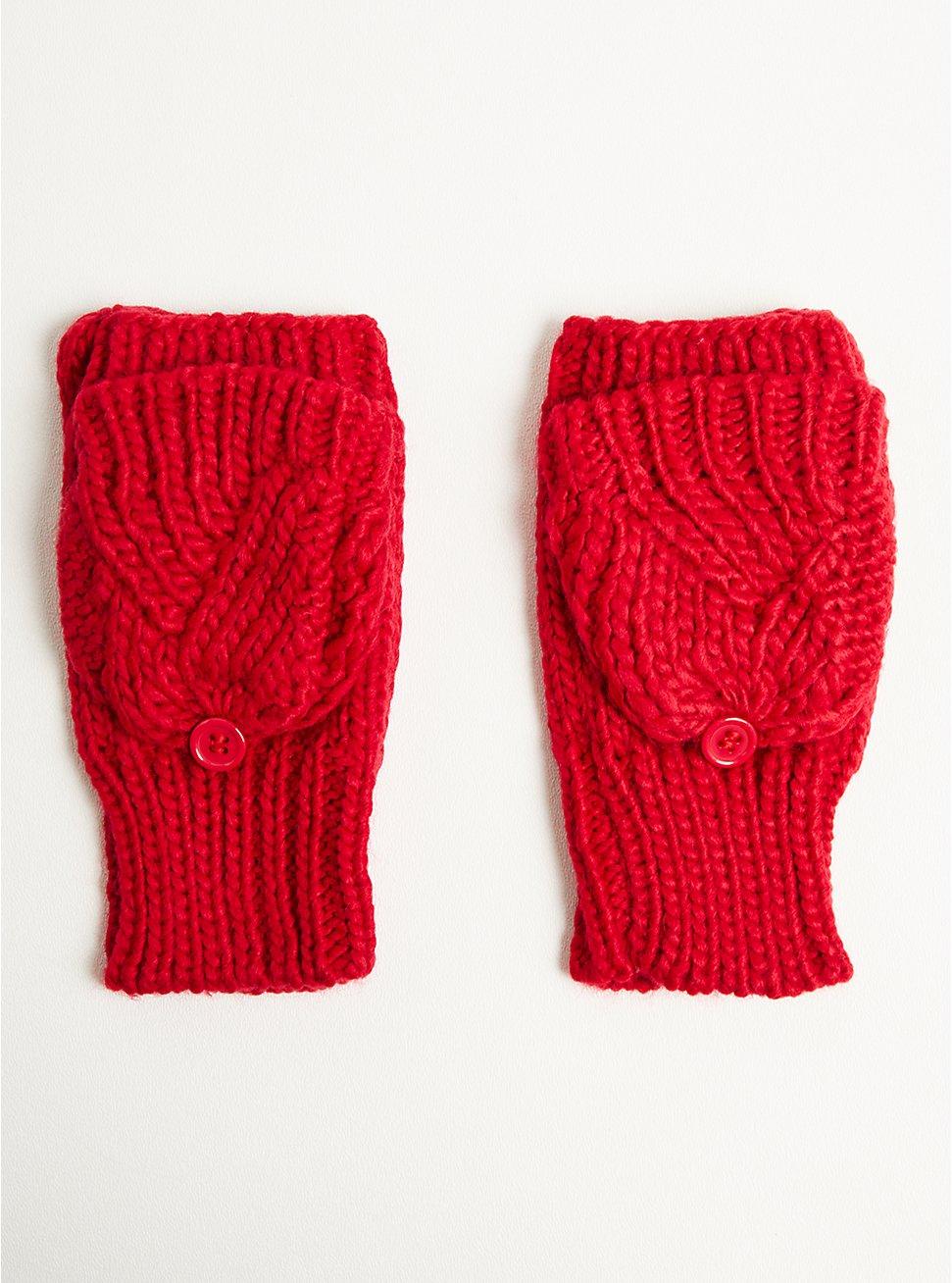 Fingerless Glove - Basket Weave Red, , hi-res