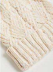 Pom Beanie - Basket Weave Oatmeal, , alternate