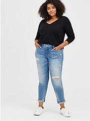 Plus Size Girlfriend Tee - Signature Jersey Black, DEEP BLACK, alternate