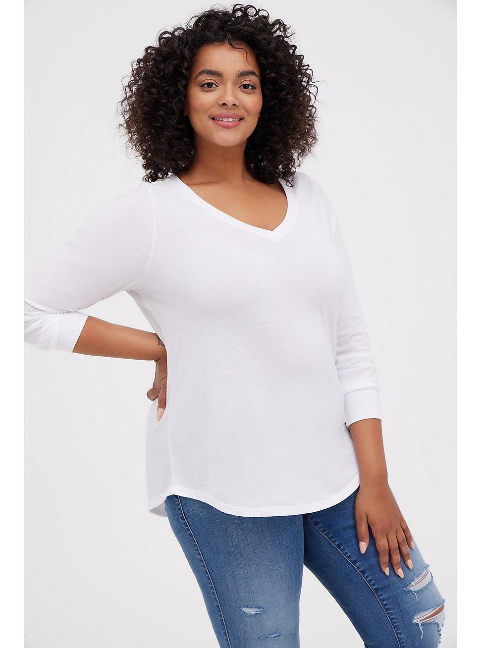 Plus Size Girlfriend Tee – Signature Jersey White, BRIGHT WHITE, hi-res
