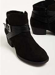 Plus Size Double Strap Ankle Bootie - Black Faux Suede (WW), BLACK, alternate
