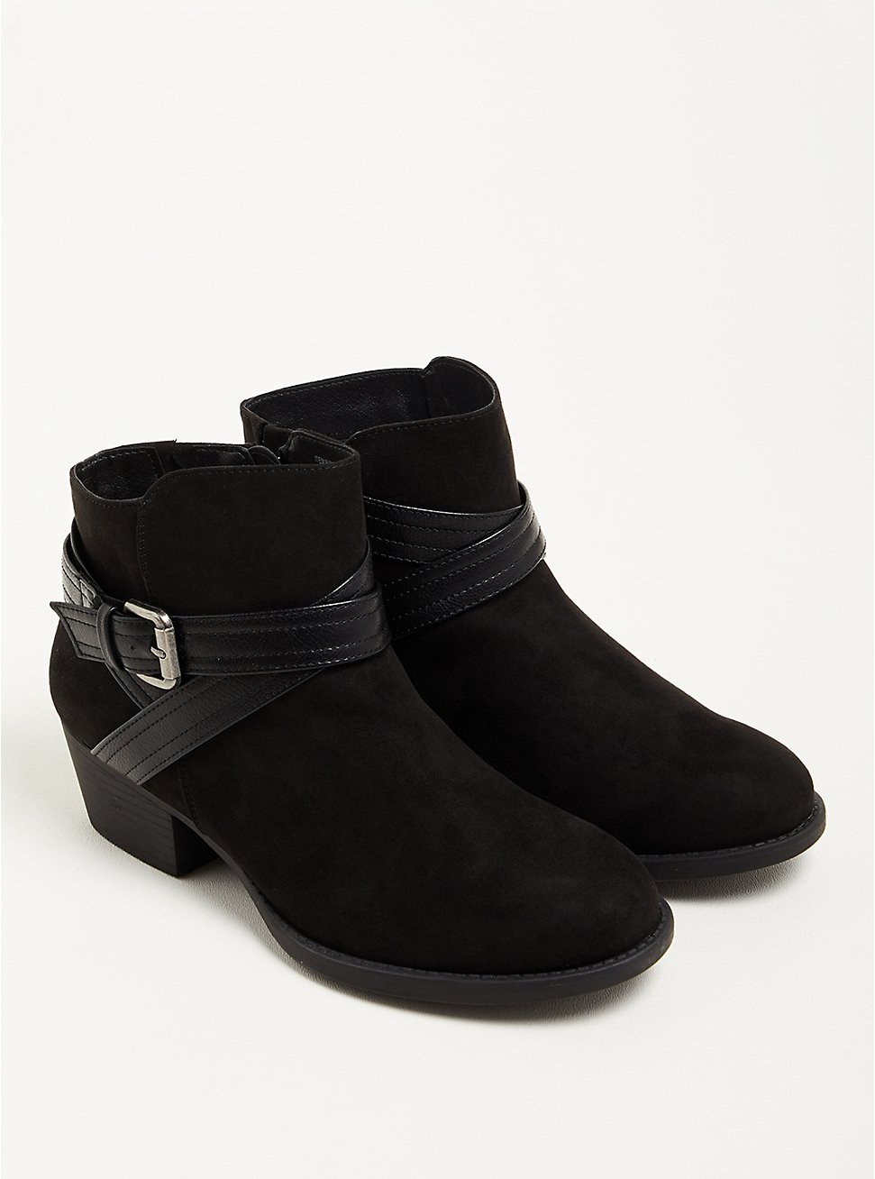 Plus Size Double Strap Ankle Bootie - Black Faux Suede (WW), BLACK, hi-res