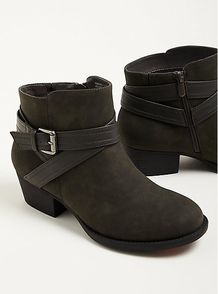 Double Strap Ankle Bootie - Grey Faux Leather (WW), GREY, alternate