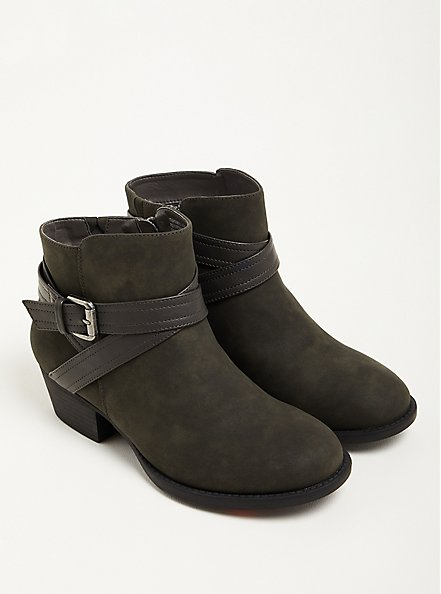 Double Strap Ankle Bootie - Grey Faux Leather (WW), GREY, hi-res