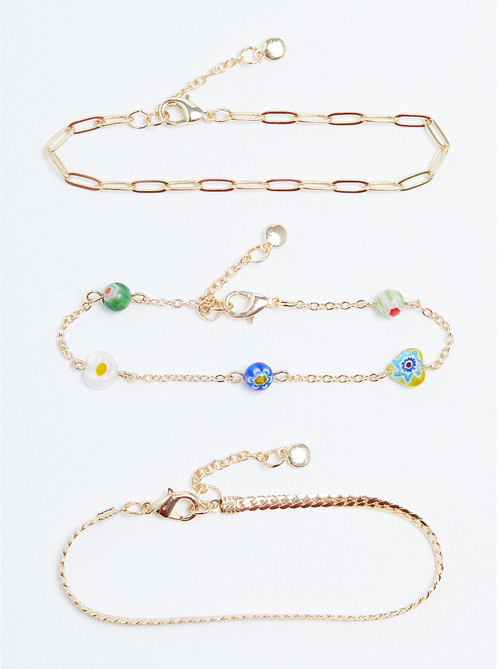 Plus Size Floral Beaded & Link Anklet Set of 3 - Gold Tone, , hi-res