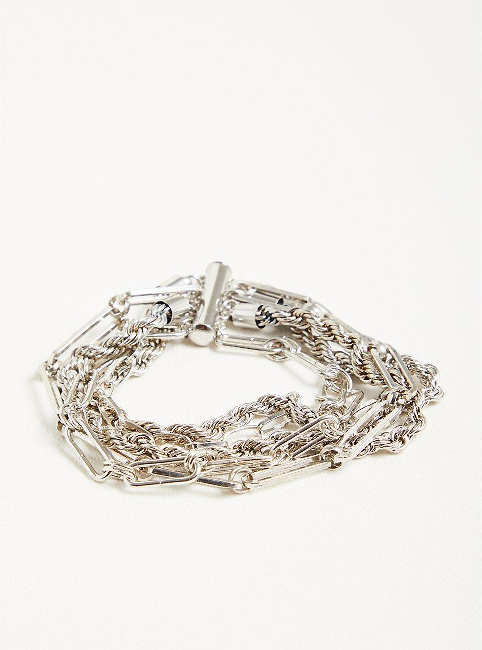 Plus Size Mixed Chain Magnetic Bracelet - Silver Tone, SILVER, hi-res