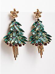 Gem Christmas Tree Statement Earrings, , alternate