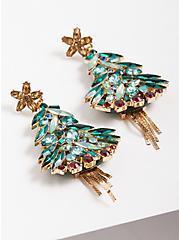 Gem Christmas Tree Statement Earrings, , hi-res