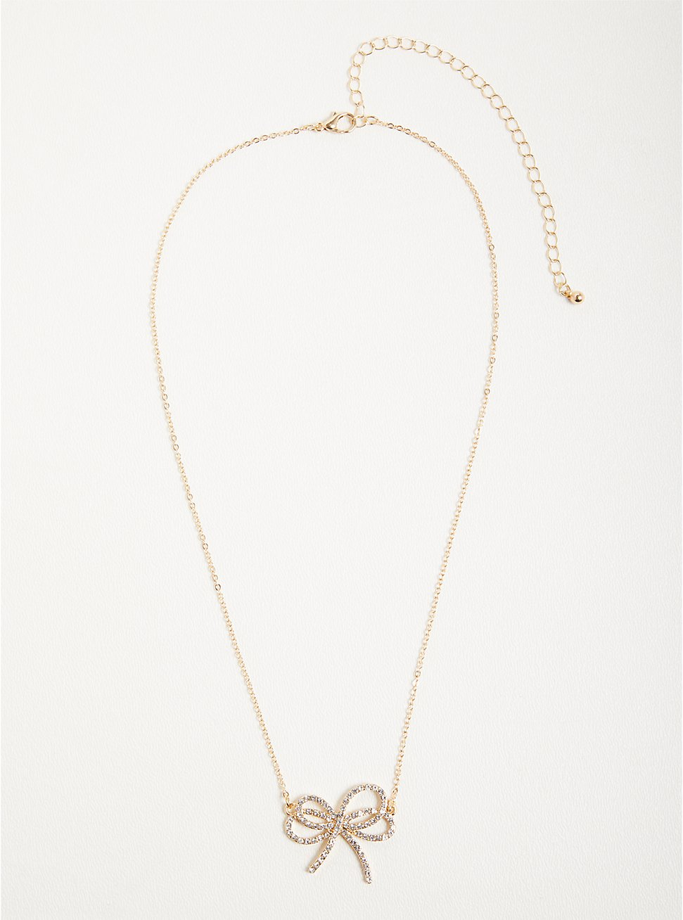 Rhinestone Bow Necklace - Gold Tone, , hi-res