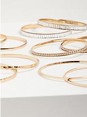 Baguette Bangle Bracelet Stack - Gold Tone, GOLD, alternate
