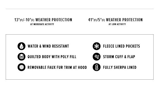 up to 13 degrees Fahrenheit/ 10 degrees Celsius weather protection at moderate activity, 40 degrees Fahrenheit/ 5 degrees Celsius weather protection at low activity