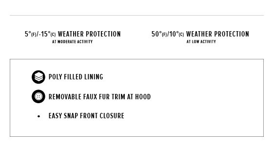up to 5 degrees Fahrenheit / -15 degrees Celsius weather protection at moderate activity, 50 degrees Fahrenheit / 10 degrees Celsius degrees weather protection at low activity