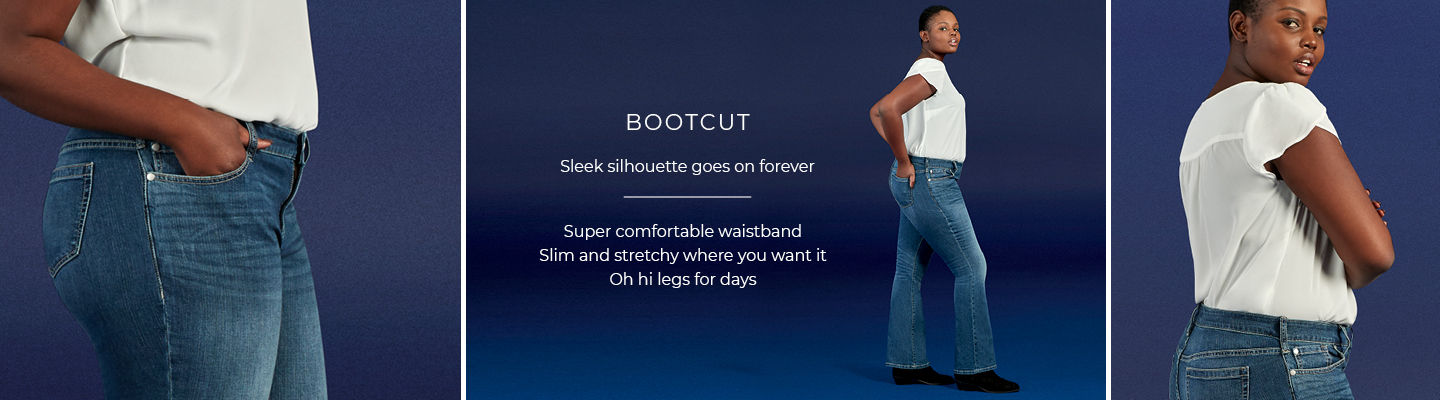 Bootcut - Sleek silhouette goes on forever. Super comfortable waistband, Slim and stretchy where you want it, Oh hi legs for days.