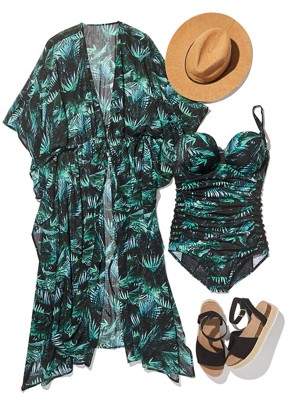 Plus Size PALM POOLSIDE LOOK, , hi-res