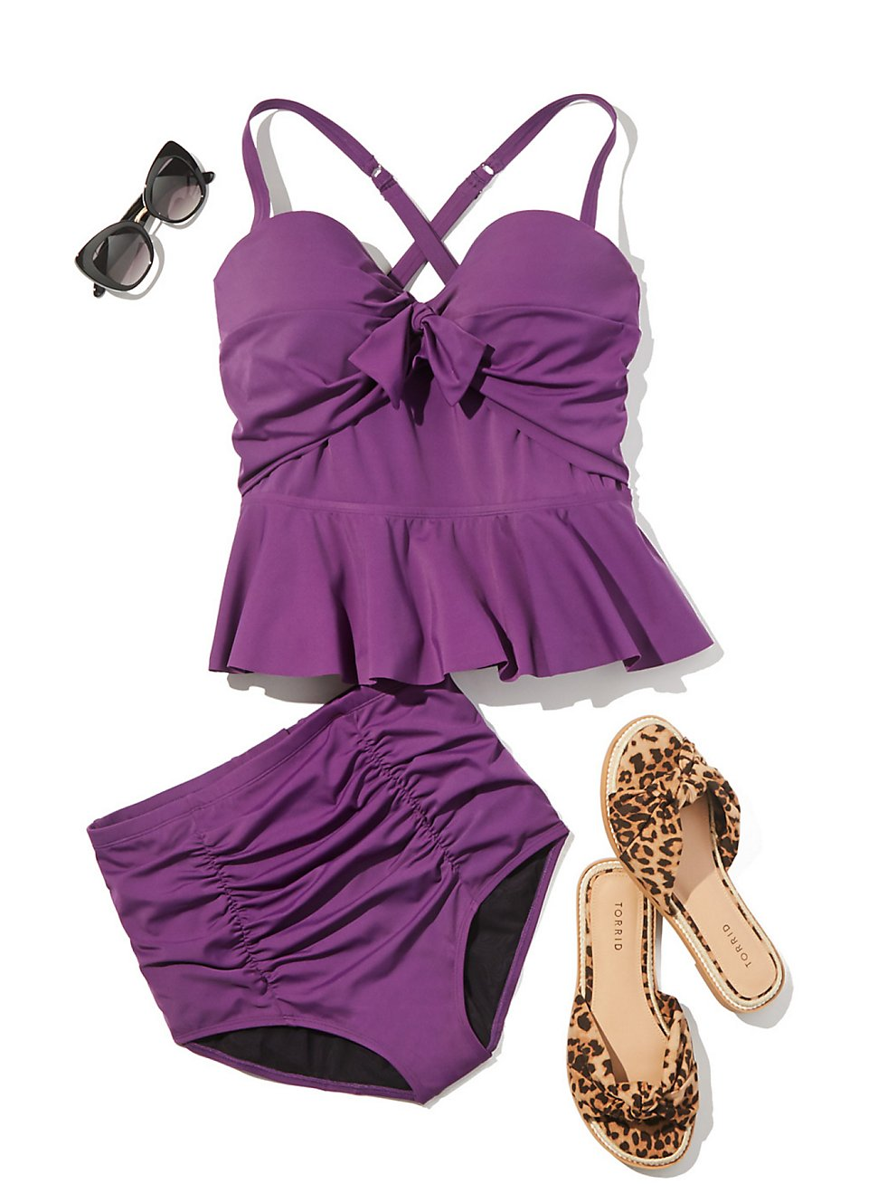Plus Size PURPLE POOLSIDE LOOK, , hi-res