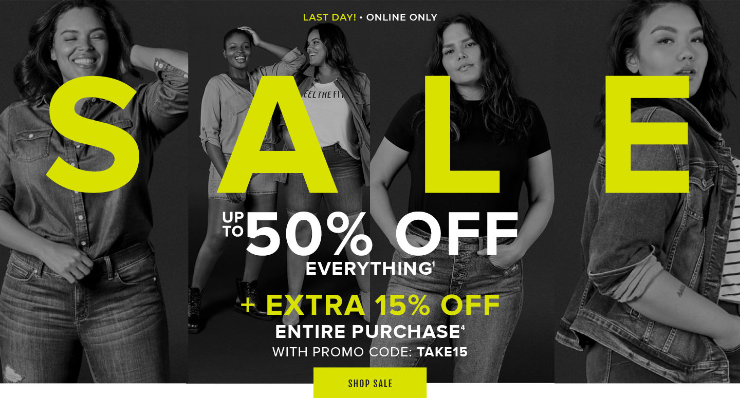 Last Day! Online Only Sale Up To 50% Off Everything + Extra 15% Off Entire Purchase with Promo Code: TAKE15. Shop Sale