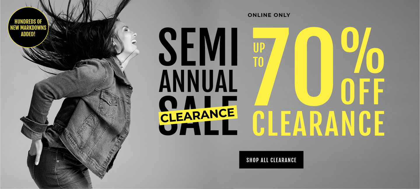 Online + Select Stores Semi Annual Sale UP to  Extra 70% Off Clearance. Shop All Clearance
