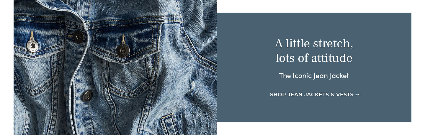 A little stretch, lots of attitude The Iconic Jean Jacket SHOP JEAN JACKETS & VESTS