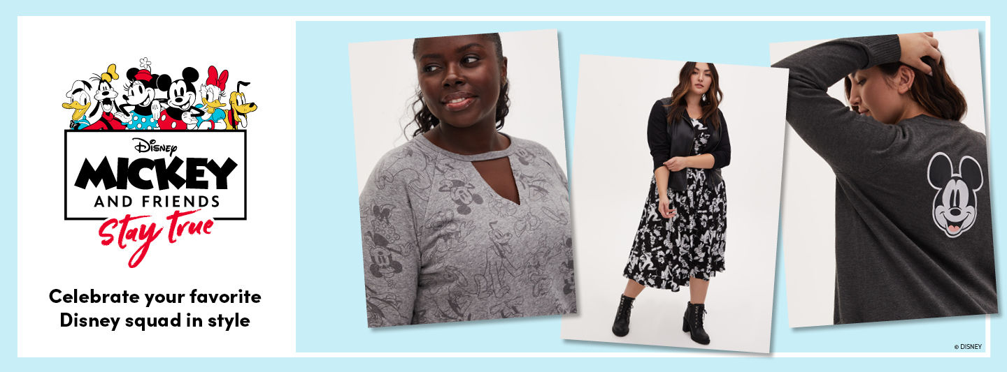 Celebrate your favorite Disney squad in style with our Mickey & Friends plus size clothing collection.  Three women wearing plus size Mickey & Friends clothing from Torrid.