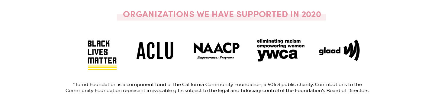 Organizations We Have Supported In 2020 - BLM, ACLU, NAACP, YWCA, GLAAD