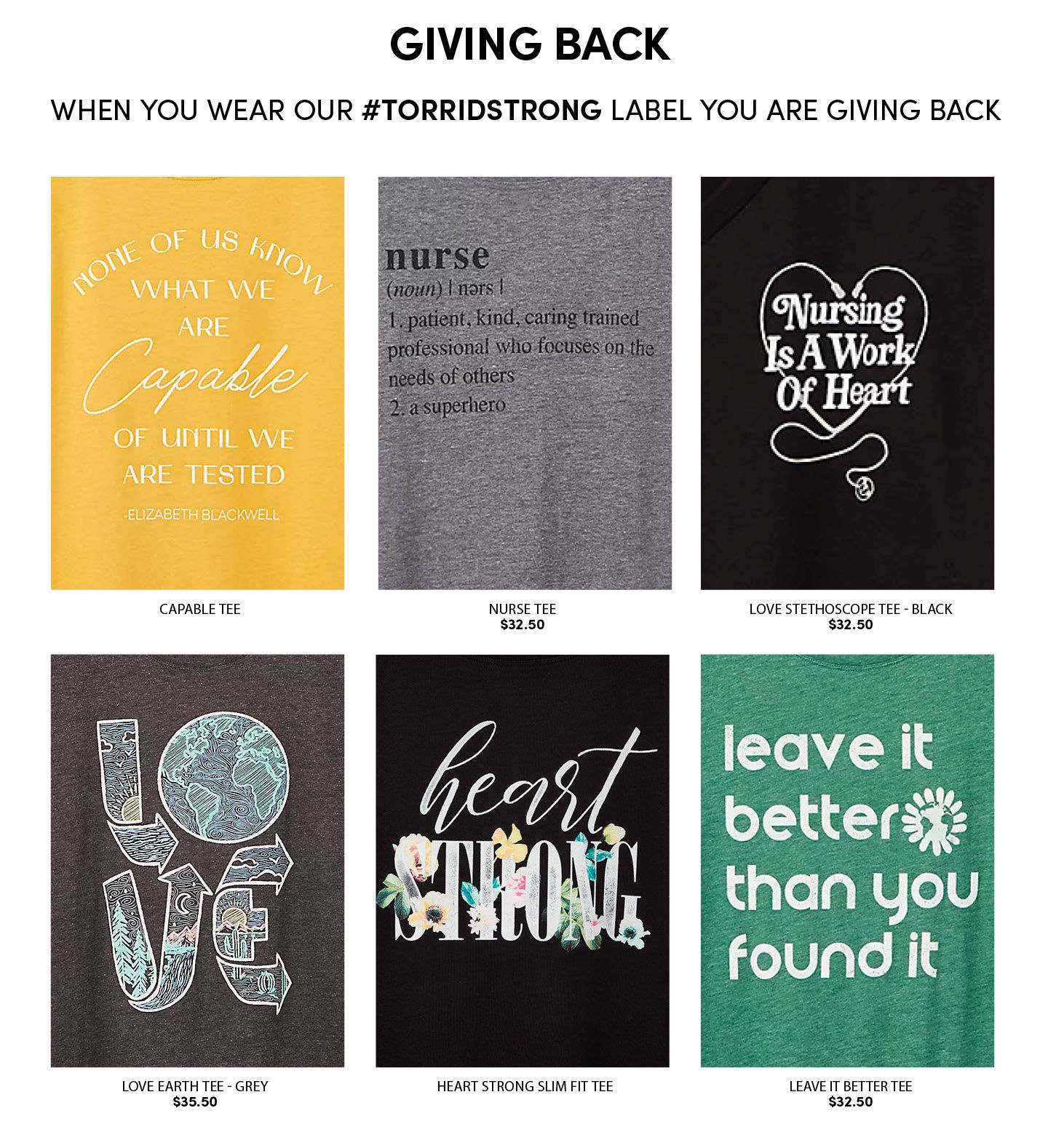 Giving Back when you wear our #TORRIDSTRONG label you are giving back