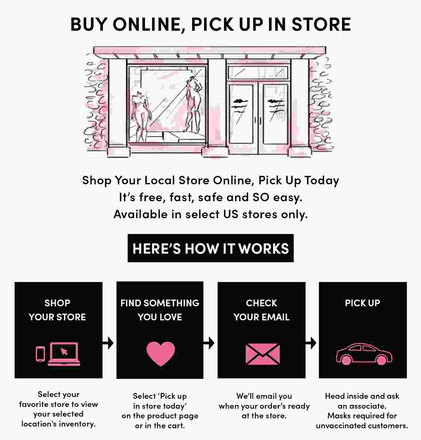 PICK UP TODAY, YOU'VE GOT OPTIONS. Shop online and get fast, free in-store or curbside pickup! Available in select stores. HERE'S HOW IT WORKS. Shop torrid.com, Find something you love and select Pick up in store today on the product page or in the cart. Check Your Email, We'll email you when your order's ready. At select stores, you'll have the option to choose no-contact curbside pickup. Walk in or Drive up, To pick up in store, just put on your mask, head inside and ask an associate. For curbside, wait in your car and we'll bring out your order. Easy.