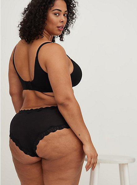 Narrow Lace Cheeky Panty - Cotton Black, RICH BLACK, alternate