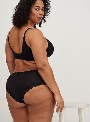 Plus Size Black Lace Cotton Cheeky Panty, RICH BLACK, alternate