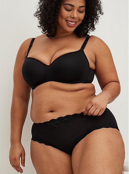 Black Lace Cotton Cheeky Panty, RICH BLACK, hi-res