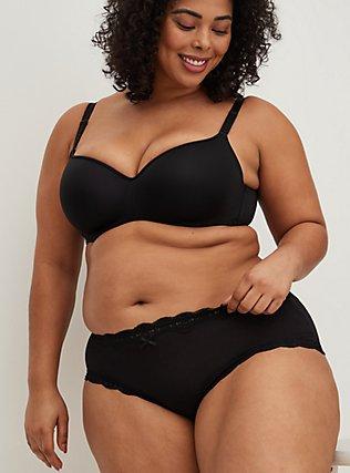 Plus Size Black Lace Cotton Cheeky Panty, RICH BLACK, hi-res