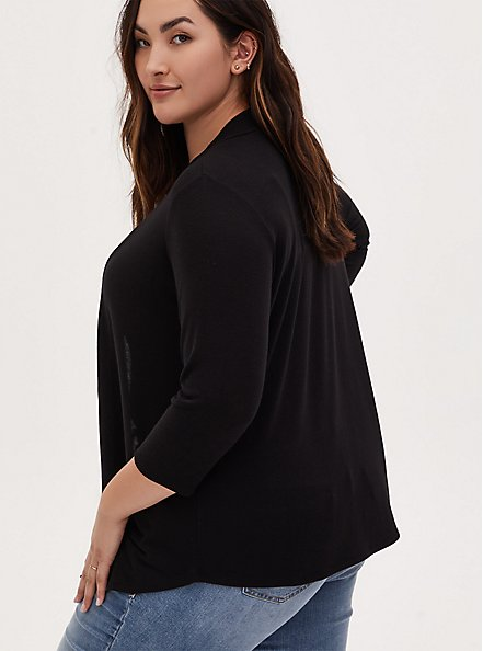 Black Open Front Cardigan, DEEP BLACK, alternate