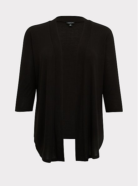 Black Open Front Cardigan, DEEP BLACK, hi-res