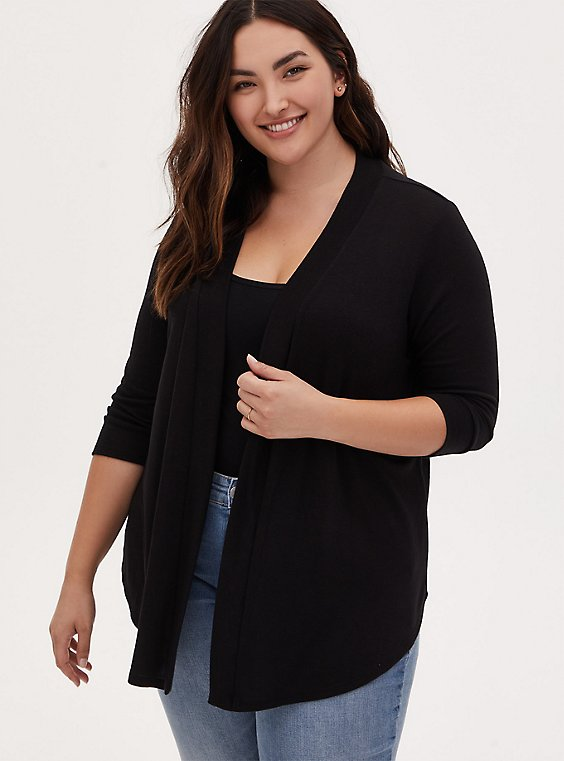 Black Open Front Cardigan, , hi-res