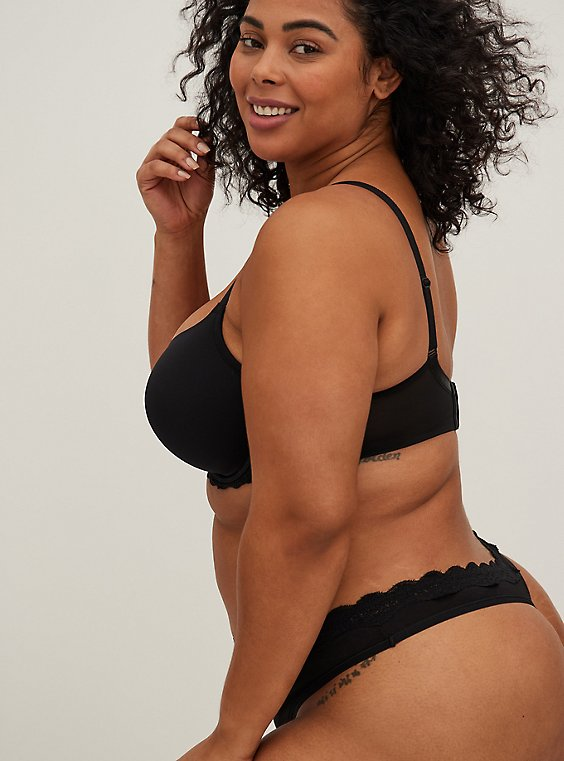 Plus Size Black Lace Trim Cotton Thong Panty, , hi-res