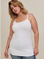 Plus Size White Scoop Neck Foxy Cami, BRIGHT WHITE, alternate