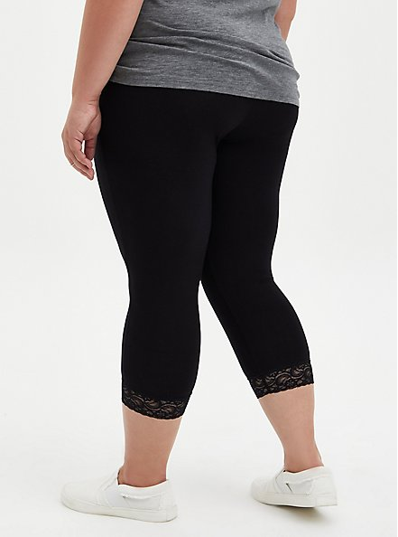 Capri Premium Legging - Lace Hem Black, DEEP BLACK, alternate